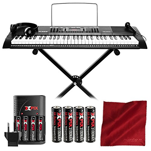 Alesis Melody 61 Portable 61-Key Keyboard with Xpix Rechargeable Battery Kit and Microfiber Clea ...