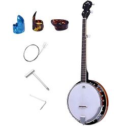 ADM 5-String Banjo 24 Bracket with Closed Solid Wood Back, Banjo Beginner Kit with Picks and Ext ...