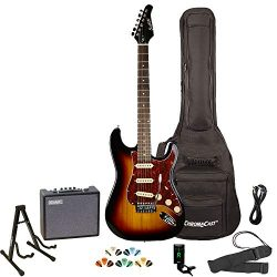 Sawtooth Sunburst Electric Guitar with Tortoise Pickguard – Includes Accessories, Amp, Gig ...