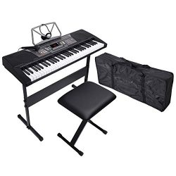 LAGRIMA 61 Key Portable Electric Piano Music Keyboard, Bundle W/H Stand, Microphone, Headphone,  ...