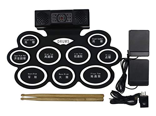 Hand roll Electric Drum Set, 9 Pads Electronic Drum Set with Built-in Speaker and Battery, Headp ...