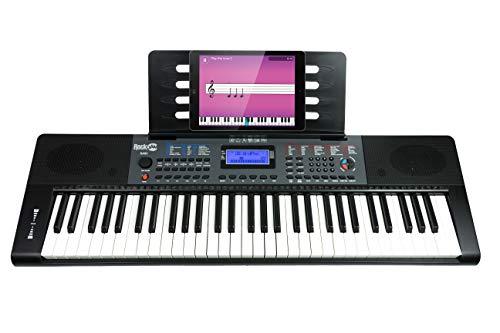 RockJam 61 Key (RJ461 61-Key Portable Electric Keyboard Power Supply, Sheet Music Stand, Pitch B ...