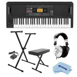Korg EK-50 Entertainment Keyboard – Bundle With On-Stage KPK6520 Keyboard Stand/Bench Pack ...