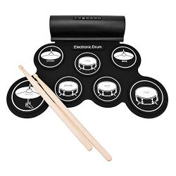 Electronic Drum Set, Portable Electronic Drum Pad – Built-In Speaker (DC Powered) –  ...