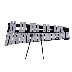 ammoon 30 Note Glockenspiel Xylophone Wooden Frame Percussion Musical Instrument