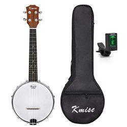 Kmise LGPREM 4 String Banjo Ukulele Uke Concert 23 Inch Size Sapele with Bag Tuner