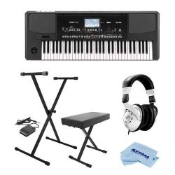 Korg PA300 61 Keys Professional Arranger, 950+ Sounds, USB-MIDI Interface, Bundle With On-Stage  ...