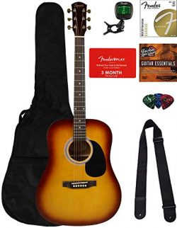 Fender Squier Dreadnought Acoustic Guitar – Sunburst Bundle with Fender Play Online Lesson ...