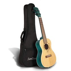 SANDONA Acoustic Electric Concert Ukulele 24 Inch Kit eUKC-141 | Spruce Top Zebrawood Back and S ...