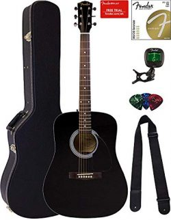 Fender FA-115 Dreadnought Acoustic Guitar – Black Bundle with Hard Case, Tuner, Strings, S ...