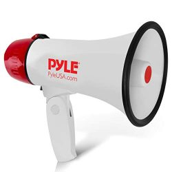 Pyle Megaphone Speaker PA Bullhorn – Built-in Siren – 20 Watt Adjustable Volume Cont ...