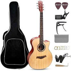 Beginner Acoustic Guitar 41″ Full Size GA Cutaway Spruce Wooden Guitars Kit – Starte ...