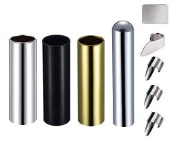 Guitar Slide Kit Included 3Pcs 7CM Metal Guitar Slides(Gold Black Silver) and 1Pcs Chrome Stainl ...