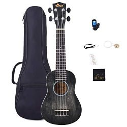 Soprano Vintage Hawaiian Ukulele WINZZ 21-inch with Bag, Tuner, Strap, Extra Strings, Fingerboar ...
