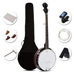 Sonart 5-String Banjo 24 Adjustable Brackets, Mid-range Closed Handle and Mid-range Steel Wire i ...