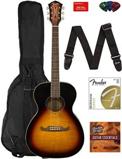Fender FA-235E Concert Acoustic-Electric Guitar Bundle with Gig Bag, Strap, Strings, Picks, Fend ...