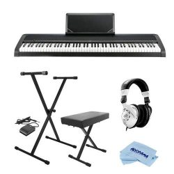 Korg B1 88 Key Digital Piano with Enhanced Speaker System and Hammer Action Black Bundle With On ...