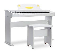 Artesia FUN-1 61-Key Childrens Digital Piano with Bench and Headphones – White