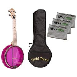 Gold Tone Little Gem Amethyst Clear Banjo Ukulele Bundle w/Bag & Cloth