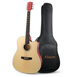 Guitar Acoustic 41 Inch Cutaway Spruce Steel String Guitar Pack-Natural By Afuaim