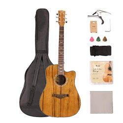 Mugig Steel-String Acoustic Guitar Bundle 41Inch with Gig Bag, Tuner, Strings, Strap, Picks for  ...
