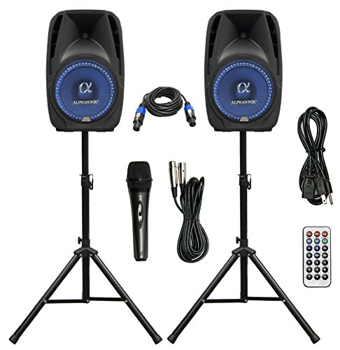 Pair Alphasonik All-in-one 8″ Powered 800W PRO DJ Amplified Loud Speakers with Bluetooth U ...