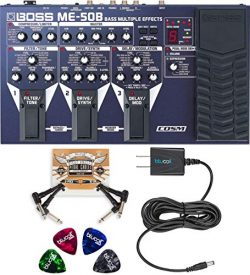 BOSS ME-50B Bass Multi-Effects Pedal Bundle with Blucoil 9V DC Power Supply with Short Circuit P ...