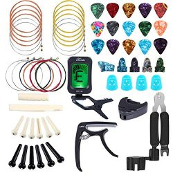 Bosunny 60 PCS Guitar Accessories Kit Including Guitar Picks,Capo,Tuner,Acoustic Guitar Strings, ...