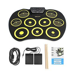 QStyel Portable Electric Drum Set Include Drum Sticks Pad Headphone Jack Built-in Speaker Pedals ...