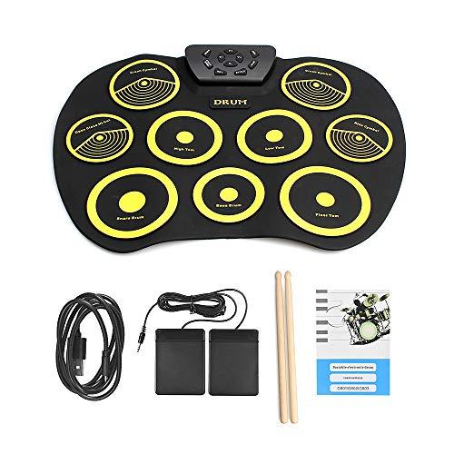 QStyel Portable Electric Drum Set Include Drum Sticks Pad Headphone Jack Built-in Speaker Pedals ...