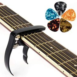 Guitar Capo Guitar Accessories Trigger Capo with 6 Free Guitar Picks for Acoustic and Electric G ...