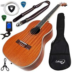 Ukulele Baritone Size Bundle From Lohanu (LU-B) 2 Strap Pins Installed FREE Uke Strap Case Tuner ...