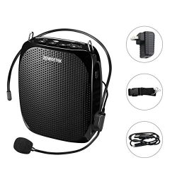 Zoweetek Portable Rechargeable Mini Voice Amplifier With Wired Microphone Headset and Waistband, ...