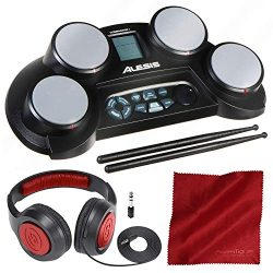 Alesis CompactKit 4 | Portable 4-Pad Tabletop Electronic Drum Kit with Drumsticks and Headphones ...