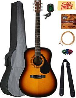 Yamaha F325D Dreadnought Acoustic Guitar – Tobacco Sunburst Bundle with Gig Bag, Tuner, St ...