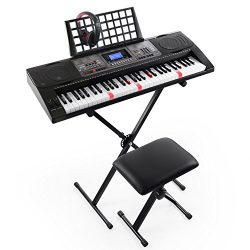 Joy 61-Key Lighted Touch Sensititive & USB-Midi(App) Keyboard Kit with Stand, Stool, Headpho ...