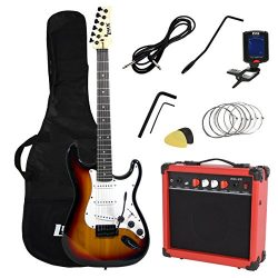LyxPro Full Size Electric Guitar with 20w Amp, Package Includes All Accessories, Digital Tuner,  ...
