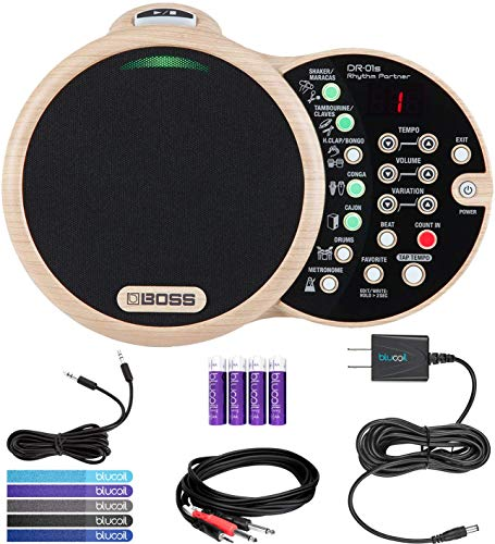 BOSS DR-01S Rhythm Partner with Metronome Bundle with Hosa 10-FT 3.5mm to 2 Mono 1/4-Inch Cable, ...