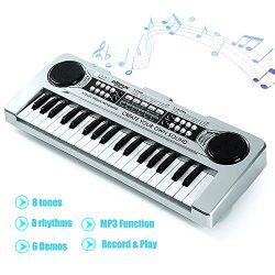 FillADream Kids Piano, 37 Keys Standard Size Multi-Function Electronic Organ Musical Kids Piano  ...