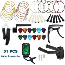 2019 New Guitar Accessory Kit, All-in 1 51 PCS Acoustic Guitar Changing Tool Set, Guitar Strings ...