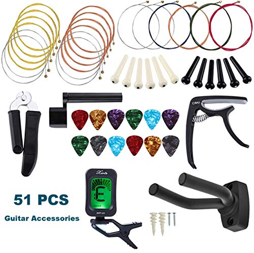 2019 new guitar accessory kit all in 1 51 pcs acoustic guitar changing tool set guitar strings. Black Bedroom Furniture Sets. Home Design Ideas