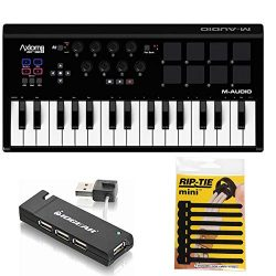 M-Audio Axiom AIR Mini 32 USB MIDI Keyboard + 4-Port USB 2.0 Hub & & Pack of CableTies
