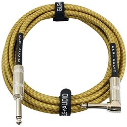 GLS Audio 10 Foot Guitar Instrument Cable – Right Angle 1/4 Inch TS to Straight 1/4 Inch T ...