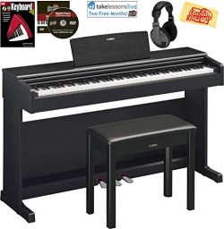 Yamaha Arius YDP-144 Traditional Console Digital Piano – Black Bundle with Furniture Bench ...