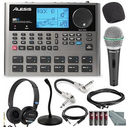 Alesis SR18 18 Bit Portable Drum Machine with Effects and Deluxe Bundle w/Microphone + Headphone ...