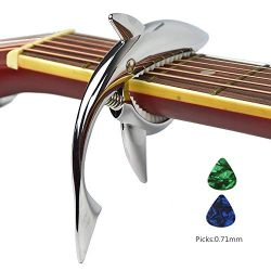 Imelod Guitar Capo for Acoustic and Electric Guitar Shark Capo Zinc Alloy for 6 String Guitar wi ...