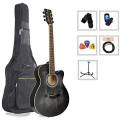 Acoustic Guitar WINZZ 40 Inches Cutaway Guitar Beginner Starter Bundle with Padded Bag, Stand, T ...