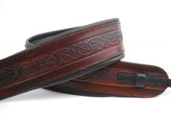 Uk Made Celtic Brown Leather Padded Banjo Strap