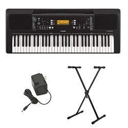 Yamaha PSR-E363 61-Key Portable Keyboard with Power Supply and Knox Gear Adjustable Keyboard Sta ...
