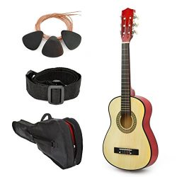 NEW! 30″ Left Handed Natural Wood Guitar With Case and Accessories for Kids/Boys/Beginners